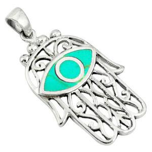 DAILY DEALS Green Turquoise Enamel 925 Silver Hand Of God Hamsa Pendant C12502