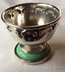 Vintage Silver Plated Lewbury Tea Strainer Base With Green Bakelite Trim