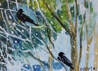 ACEO original miniature painting Acrylic Art ~ Two Ravens on a snowy day ~