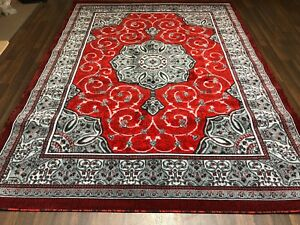 Modern Rugs Approx 11x8ft 340x240cm Woven Thick Sale Top Quality Grey/Red New