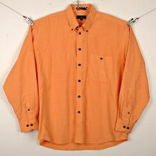 Enro Mens Shirt Size L Long Sleeve Button Front Orange Checkered