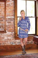 WRANGLER Rock 47  Peasant Sleeve Blue Gold Chevron Western Dress LJD120B  NWT