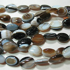 """Black Brown White Banded Sardonyx Agate 10x14mm Puffy Oval Beads 16"""""""