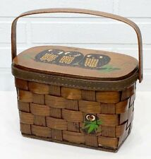 Vintage 1970's CARO-NAN Hand Painted HOOT OWL MID-CENTURY Hand Bag BASKET PURSE