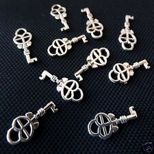 20 Tibetan Silver Key Pendant Charms 18mm