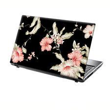 "TaylorHe Laptop Skin 13-14"" Vinyl Sticker Decal Vintage Pink Flowers on Black"