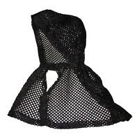 Vintage Black Fishnet Hooded Barbie Doll Sleeveless Jacket Vest EUC