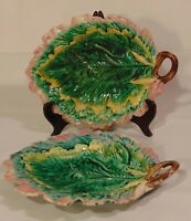 2 Antique Majolica Oak Leaf Bread Trays Plates Etruscan GSH Pink Green 12""