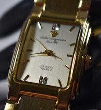 Jules Jurgensen Women's rectangular Gold Tone Diamond Watch 2035 NEW BATTERY!