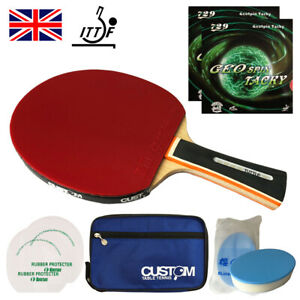 Friendship 729 GeoSpin Tacky Rubber ITTF Approved Custom Table Tennis Bat Bundle