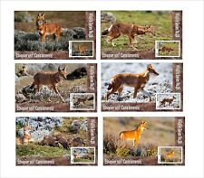 ETHIOPIAN WOLF  6 SOUVENIR SHEETS MNH IMPERFORATED WOLFS WILD ANIMALS FAUNA