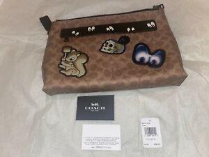 NWT Coach Disney Snow White Patches Carryall Zip Pouch Bag Signature Khaki Eyes