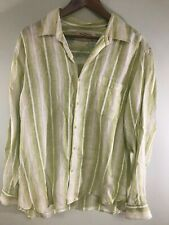 Tommy Bahama Mens LS  Button Down Shirt Green Striped Large Linen