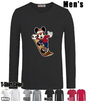 Funny Cool Mickey Skateboard Cotton Blend Sleeves Man's Boy's T-Shirt Tops