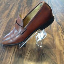 Brown Ferragamo Leather Loafers Shoe Size 8 1/2 Men Good Condition Made In Italy