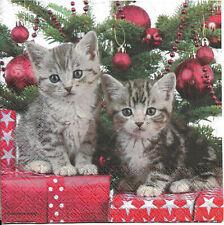 Lot de 2 Serviettes en papier Chats de Noël Decoupage Collage Decopatch