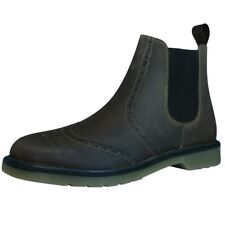 Mens Leather Oaktrak Boots Pull Slip On Brogue Chelsea shoes Sizes 7 8 9 10 11
