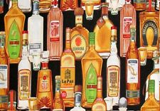 Cuarto gordo tequila BEBIDAS BOTELLAS ALCOHOL Costura Acolcha Tela De Algodón