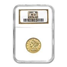 $5 Liberty Gold Half Eagle Coin - Random Year - MS-61 NGC - SKU #23204