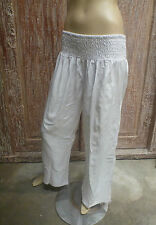 Bali Sheered Elastic Waist Long Wide Pants Comfy Yoga Maternity White Rayon L/XL