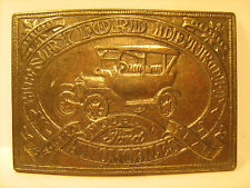 Vintage BRASS Belt Buckle HENRY FORD DETROIT Model T RECORD YEARS [Y95f]