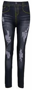 Dehnbare schwarze Leggins Jegging Leggings mit gelben Nähten Jeans Look One Size