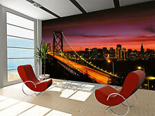 Photo Wallpaper Bay Bridge at Night GIANT WALL DECOR PAPER POSTER FOR BEDROOM