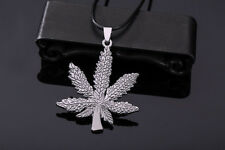 Stainless Steel Silver Marijuana Leaf Pendant Leather Chain Necklace jewelry