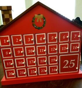 Countdown to Christmas  Wooden Advent Calendar House Insert Candy As Desired