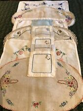 Vintage Hand Embroidered Placemat And Coaster Set 6 Settings Colourful