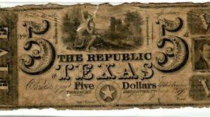 "$5 ""REPUBLIC OF TEXAS"" 1800'S $5 ""REPUBLIC OF TEXAS"" 1800'S $5 ""TEXAS"" RARE!!!!"