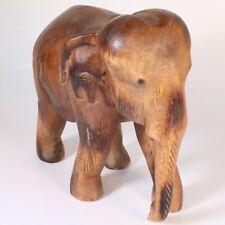 "More details for vintage wooden elephant statue figurine hand carved wood 20.5"""