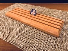 Challenge Coin Display Solid Cherry Wood 4 Row Military Coin Holder Rack Stand