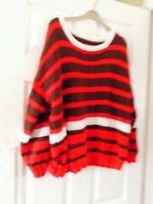 New Ladies Brown And Red Striped Hand Knitted Jumper Size L (UK)