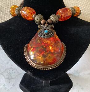 Vintage 1980s Amber Resin Native American Design Necklace