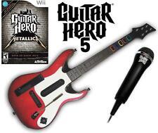 NEW Nintendo Wii Guitar Hero 5 Guitar, GH Metallica Game & Microphone Bundle