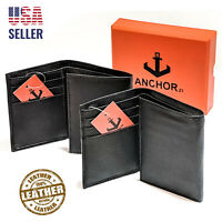 Anchor21 Mens Trifold Wallet Slim RFID Blocking ID Window Credit Card Holder