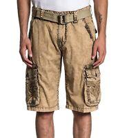 AFFLICTION Men's Khaki Dye Fleur de Lis Revival Cargo Shorts Pants with Belt