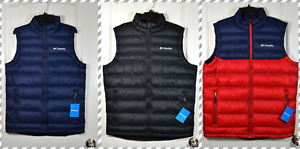 NWT MENS COLUMBIA RED/BLACK/BLUE/BLACK NEW DISCOVERY VEST FULL ZIP SZ S, L