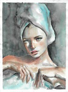 original drawing 29,5 x 39 cm 24HO art samovar Watercolor female portrait