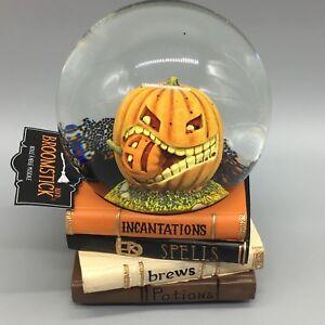 Halloween Musical Water Snow Globe Pumpkin Eating Cannibal Spell Books Decor