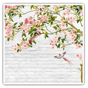 2 x Square Stickers 10 cm - Pink Blossom Tree Birds Art Cool Gift #24010