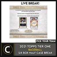 2021 TOPPS TIER ONE BASEBALL 6 BOX (HALF CASE) BREAK #A1130 - PICK YOUR TEAM