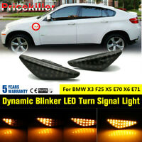 Dynamic Blinker Sequential LED Side Marker Amber Light For BMW X3 X5 X6 F25 E70~