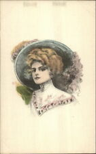 Beautiful Woman Large Hat Hand Colored Unsigned c1910 Postcard EXC COND