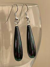 Elegant Black Teardrop Shell Pearl Sterling Earrings Shepherd Hooks