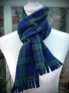 Green and blue tartan scarf, Black Watch Tartan fleece, Scottish Plaid neck tie