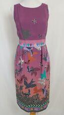 HeyHoe Anthropologie Dress Size 10 100% Silk Purple Bird Print Aztec Ikat Lined