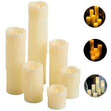 Flameless Candles With Timer Ivory Pillar Set of 6 Led Real Wax Dripping Flicker