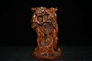 """6.3"""" collect Chinese Box-wood Hand Carved Immortals Ancient Pine Tree Brush Pot"""